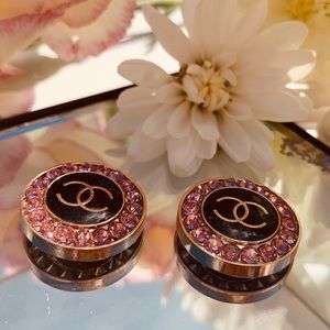 Repurposed vintage Chanel Button earrings